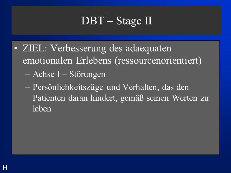 DBT – Stage II ZIEL: Verbesserung des adaequaten emotionalen Erlebens (ressourcenorientiert) Achse I – Störungen.