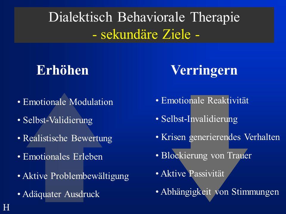 Dialektisch Behaviorale Therapie - sekundäre Ziele -