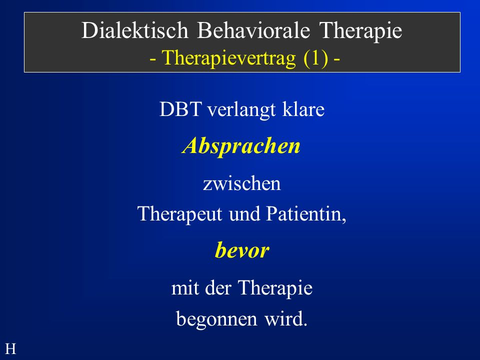 Dialektisch Behaviorale Therapie - Therapievertrag (1) -