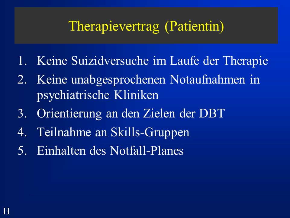 Therapievertrag (Patientin)