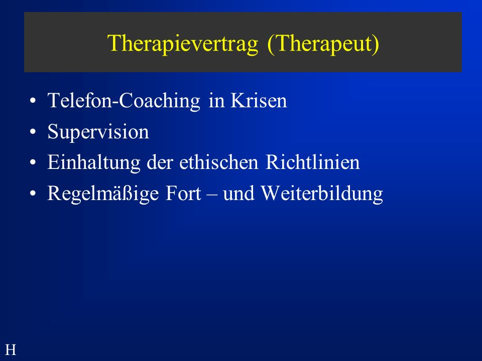 Therapievertrag (Therapeut)