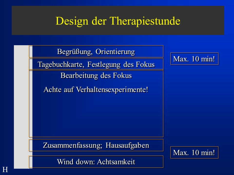 Design der Therapiestunde