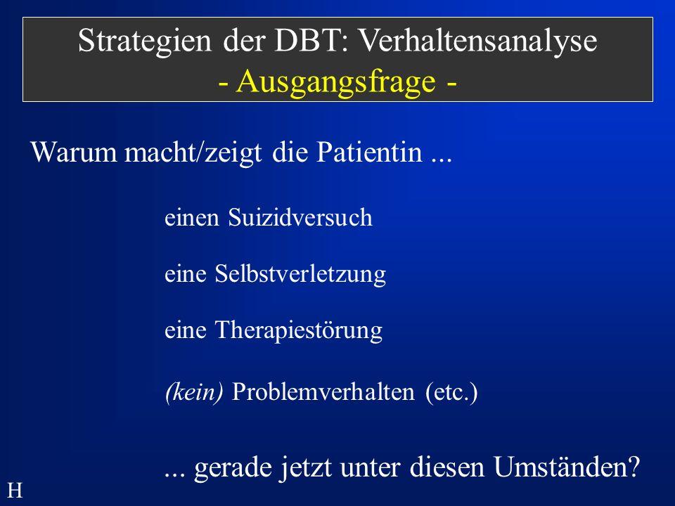 Strategien der DBT: Verhaltensanalyse - Ausgangsfrage -
