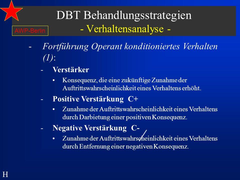 DBT Behandlungsstrategien - Verhaltensanalyse -