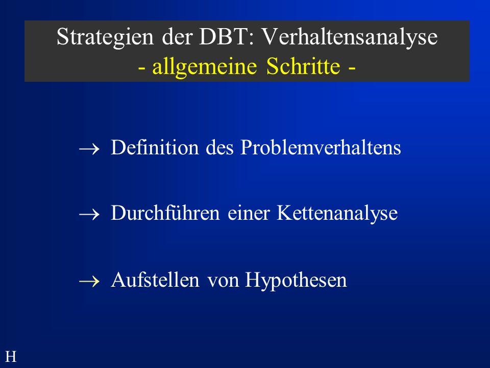 Strategien der DBT: Verhaltensanalyse - allgemeine Schritte -