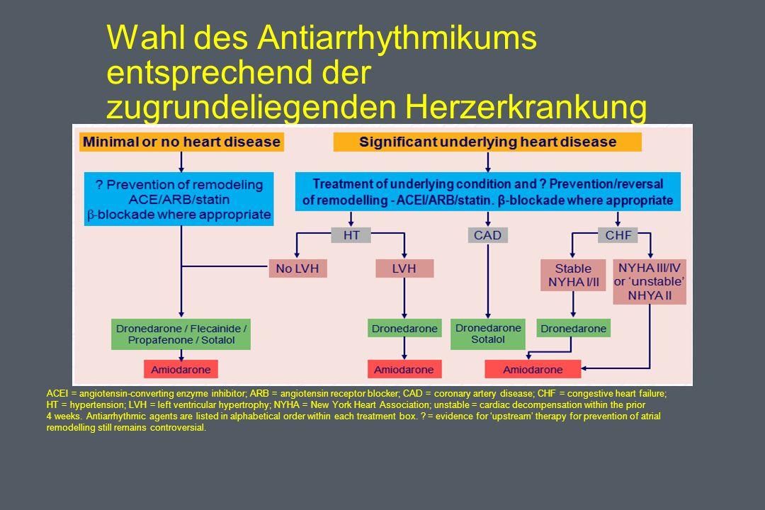 Wahl des Antiarrhythmikums entsprechend der zugrundeliegenden Herzerkrankung