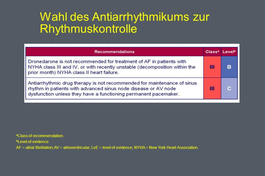 Wahl des Antiarrhythmikums zur Rhythmuskontrolle