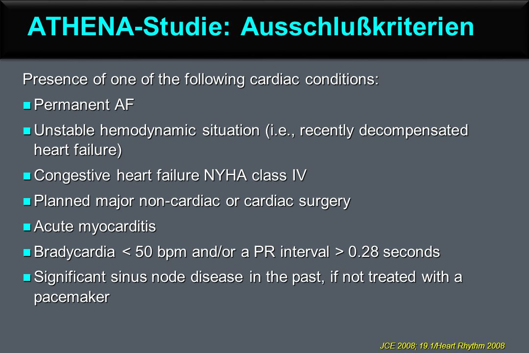 ATHENA-Studie: Ausschlußkriterien