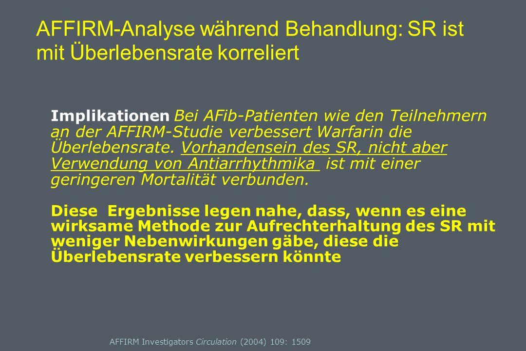 AFFIRM-Analyse während Behandlung: SR ist mit Überlebensrate korreliert