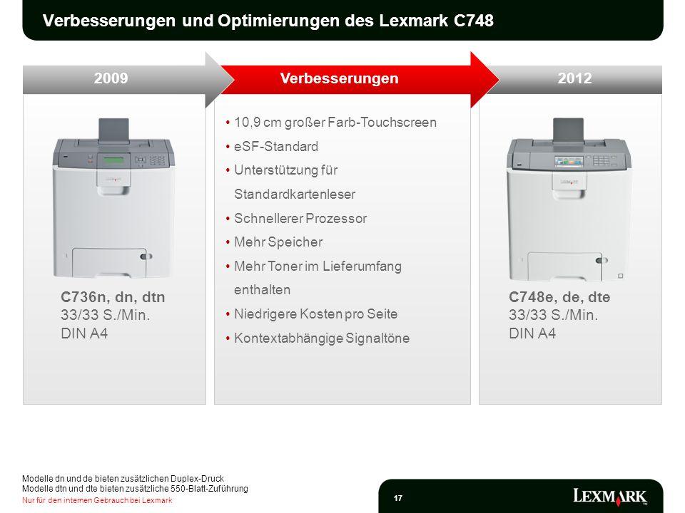 Verbesserungen und Optimierungen des Lexmark C748
