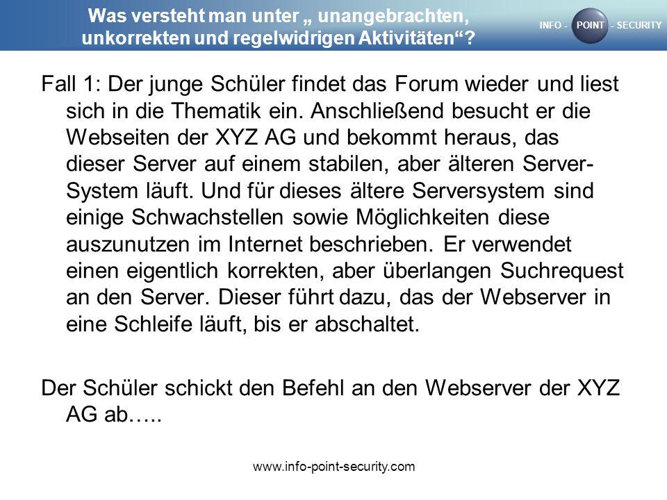 Der Schüler schickt den Befehl an den Webserver der XYZ AG ab…..