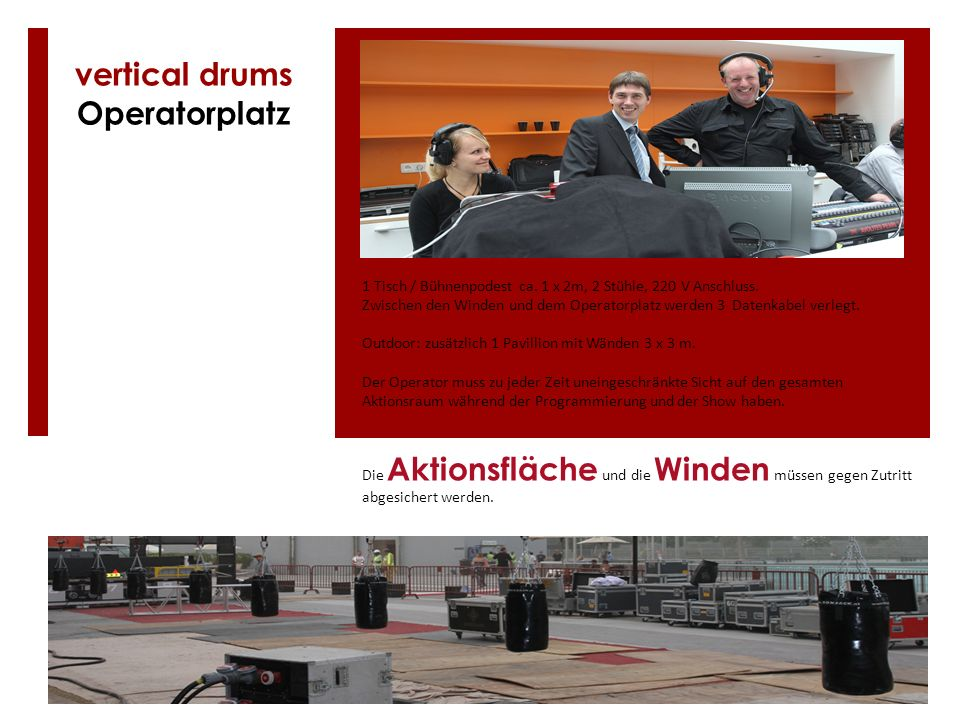 vertical drums Operatorplatz