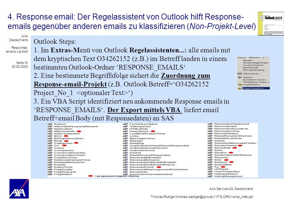 4. Response email: Der Regelassistent von Outlook hilft Response-emails gegenüber anderen emails zu klassifizieren (Non-Projekt-Level)