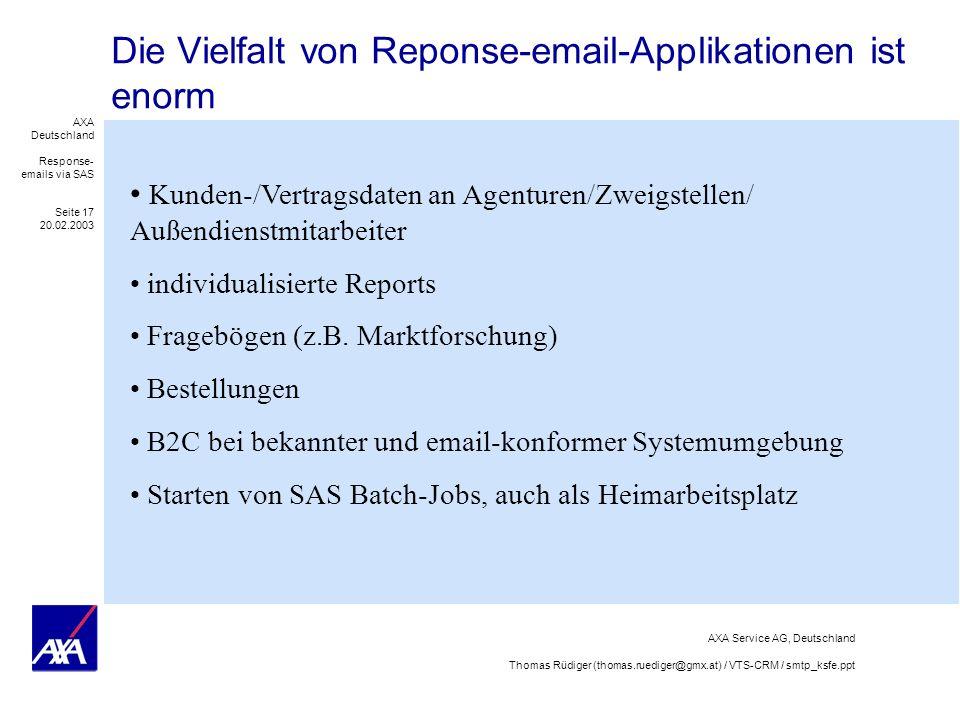 Die Vielfalt von Reponse-email-Applikationen ist enorm