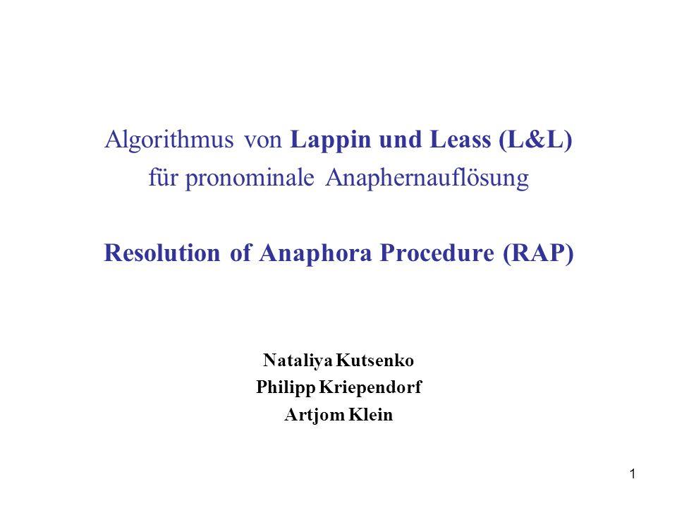 Resolution of Anaphora Procedure (RAP)