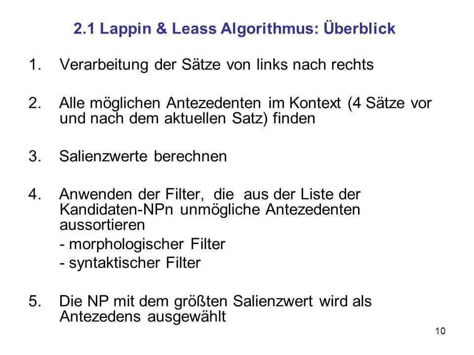 2.1 Lappin & Leass Algorithmus: Überblick