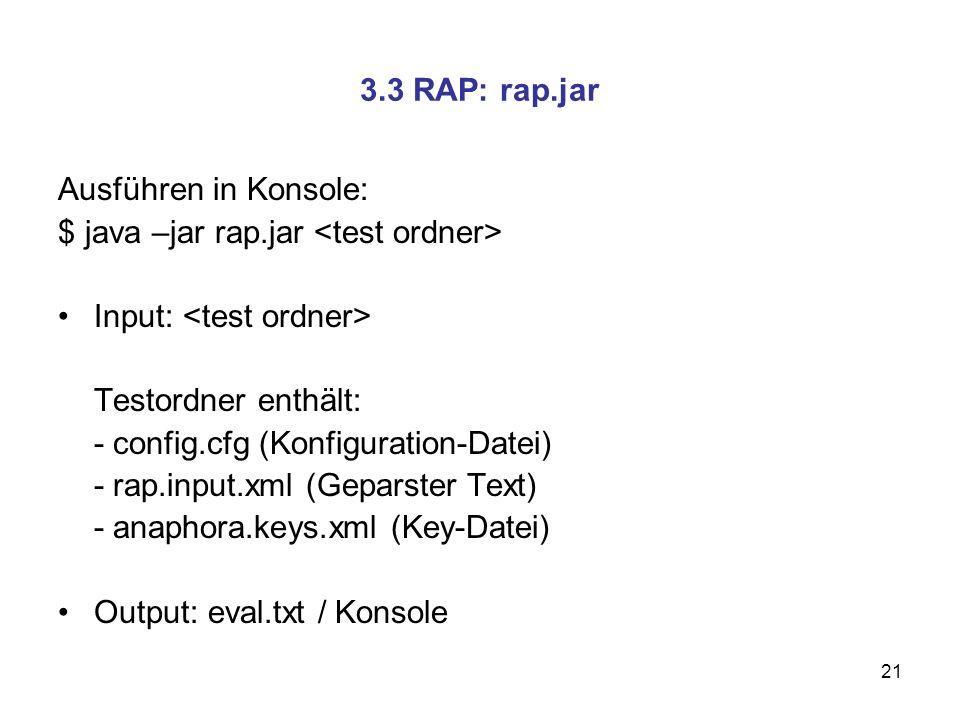 $ java –jar rap.jar <test ordner> Input: <test ordner>
