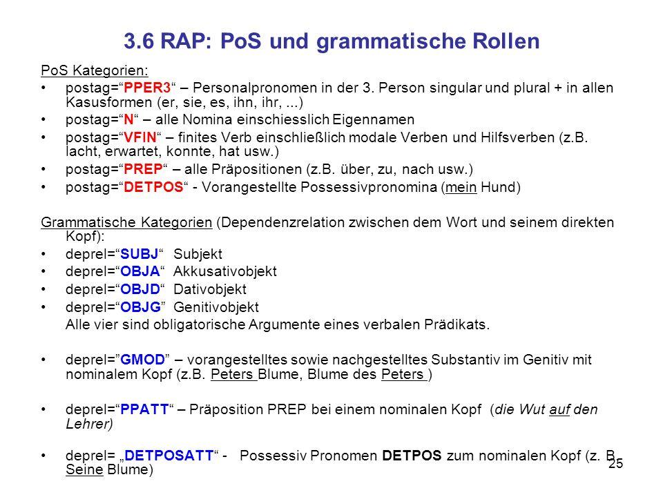 3.6 RAP: PoS und grammatische Rollen