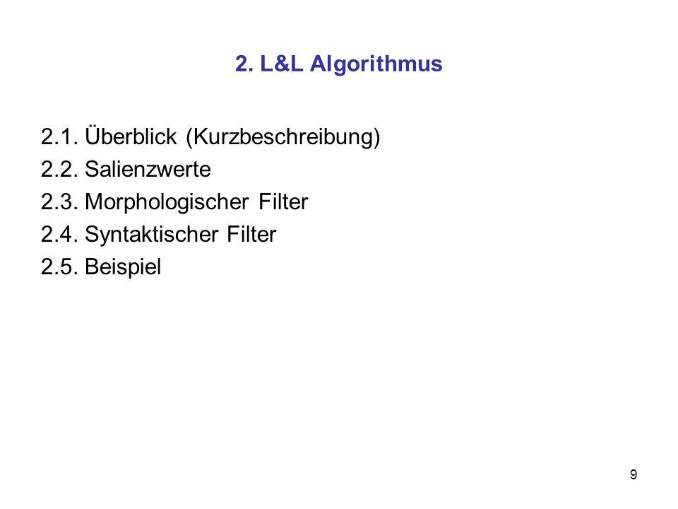 2. L&L Algorithmus 2.1. Überblick (Kurzbeschreibung) 2.2. Salienzwerte. 2.3. Morphologischer Filter.