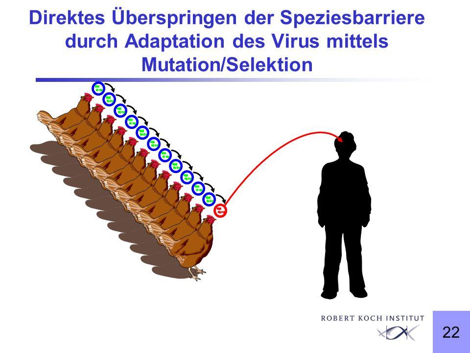 Direktes Überspringen der Speziesbarriere durch Adaptation des Virus mittels Mutation/Selektion