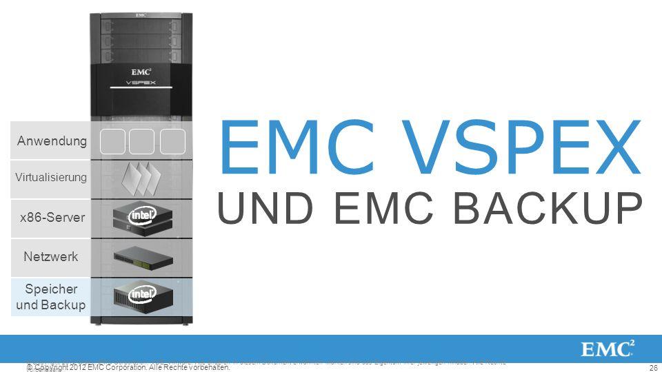 EMC VSPEX UND EMC BACKUP Anwendung x86-Server Netzwerk Speicher