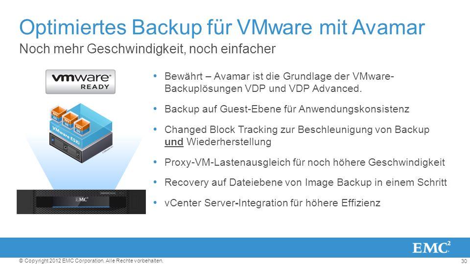 Optimiertes Backup für VMware mit Avamar