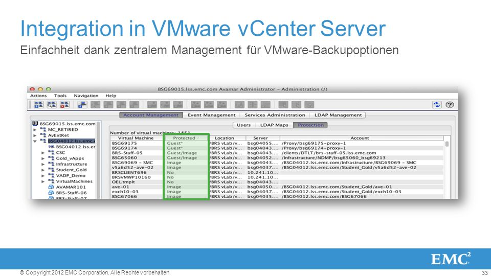 Integration in VMware vCenter Server