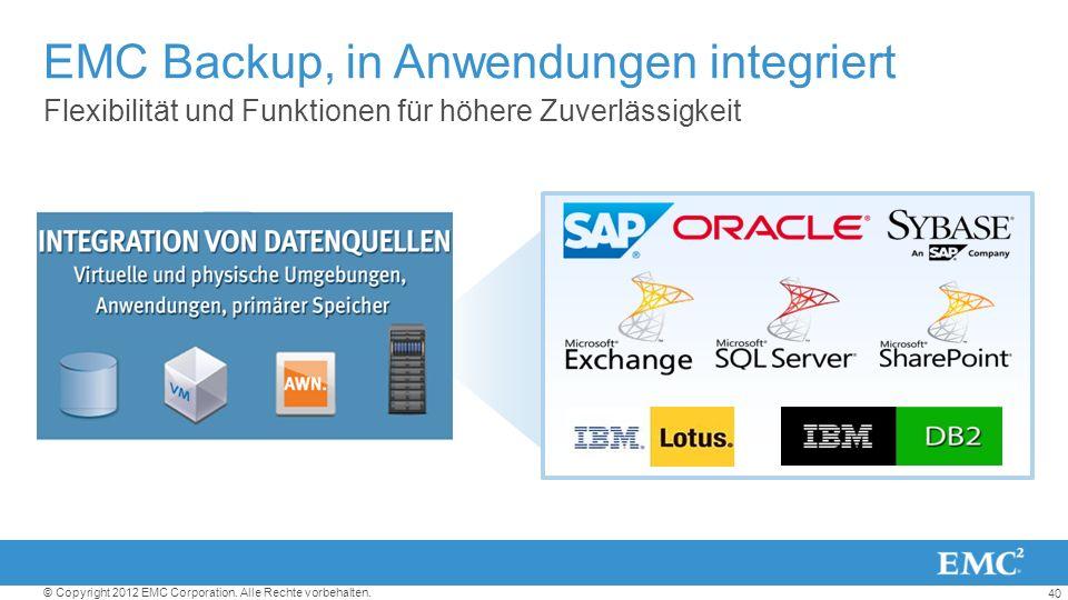 EMC Backup, in Anwendungen integriert