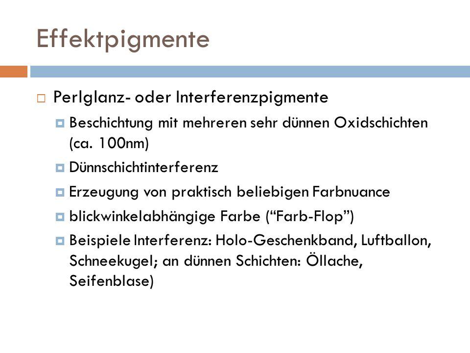 Effektpigmente Perlglanz- oder Interferenzpigmente