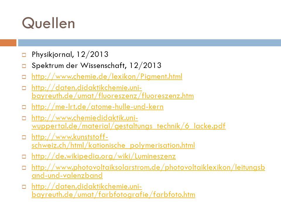 Quellen Physikjornal, 12/2013 Spektrum der Wissenschaft, 12/2013