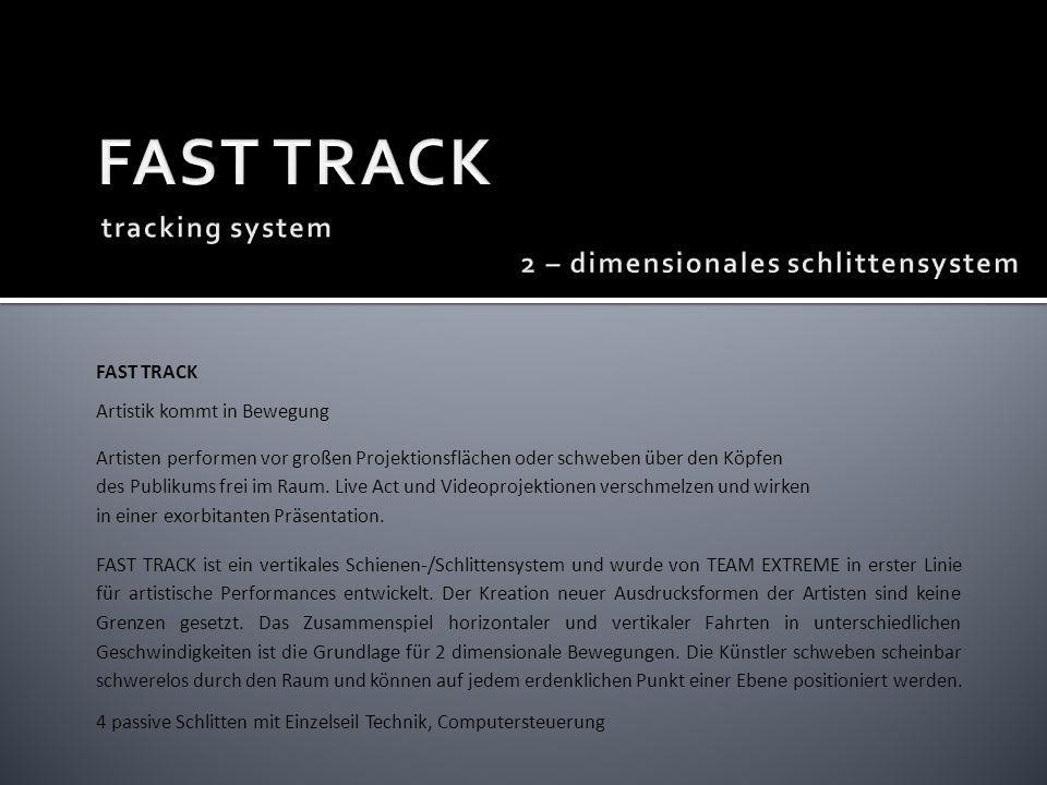 FAST TRACK tracking system 2 – dimensionales schlittensystem