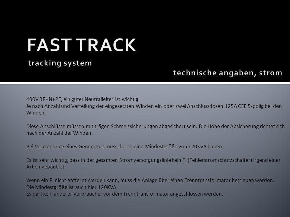 FAST TRACK tracking system technische angaben, strom