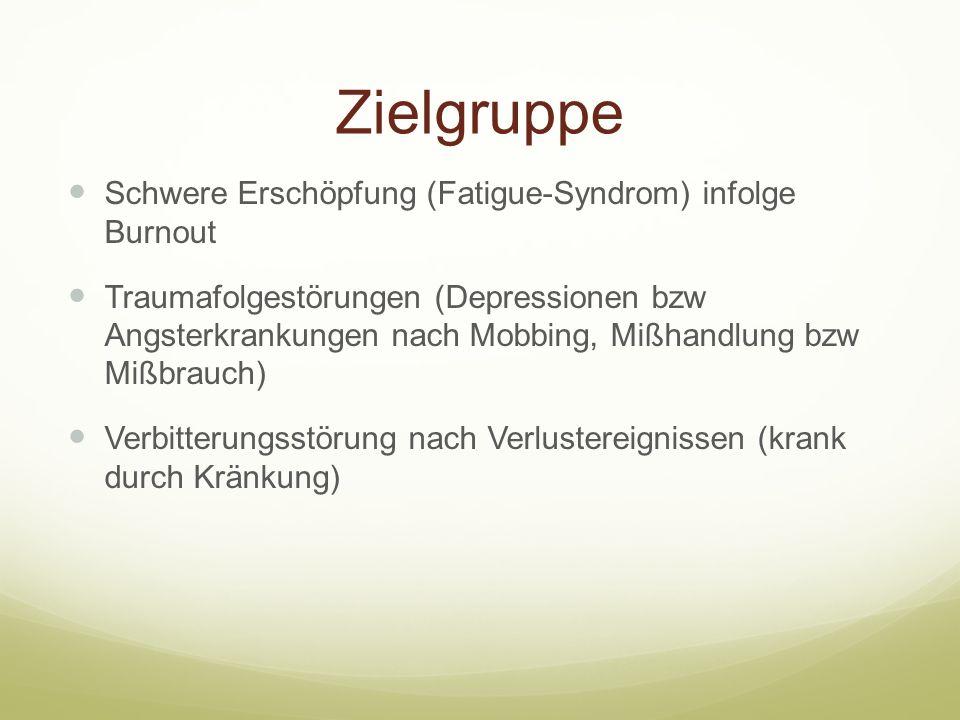 Zielgruppe Schwere Erschöpfung (Fatigue-Syndrom) infolge Burnout
