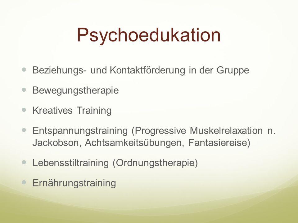 Psychoedukation Beziehungs- und Kontaktförderung in der Gruppe