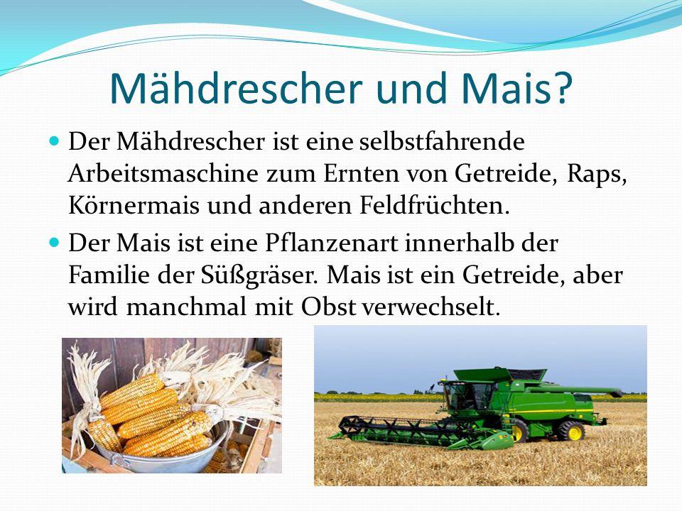 Mähdrescher und Mais Der Mähdrescher ist eine selbstfahrende Arbeitsmaschine zum Ernten von Getreide, Raps, Körnermais und anderen Feldfrüchten.