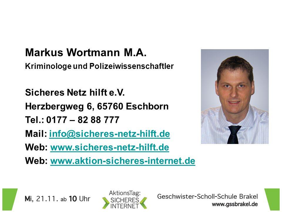 Markus Wortmann M.A. Sicheres Netz hilft e.V.