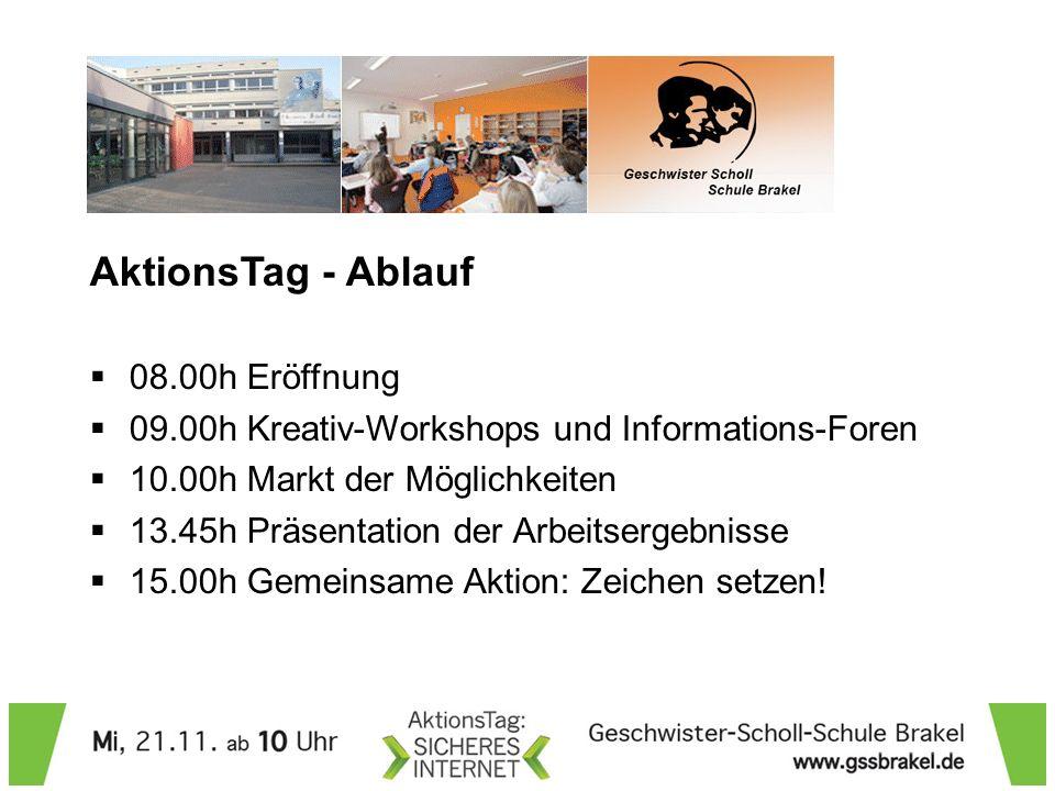 AktionsTag - Ablauf 08.00h Eröffnung