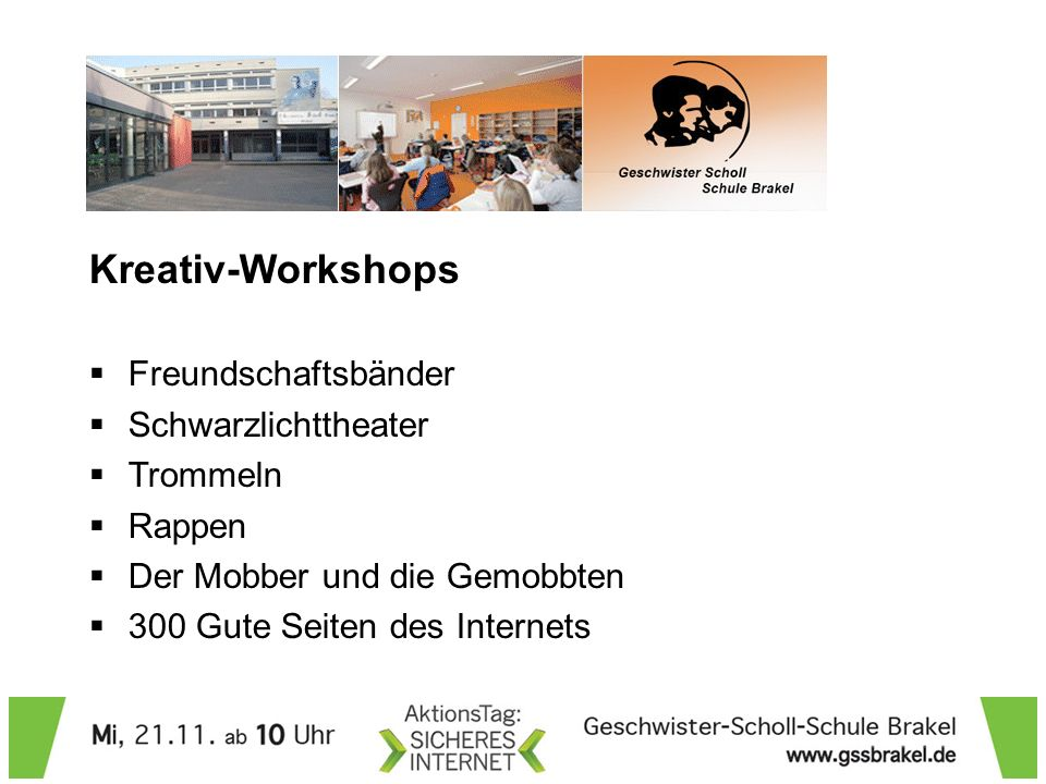 Kreativ-Workshops Freundschaftsbänder Schwarzlichttheater Trommeln
