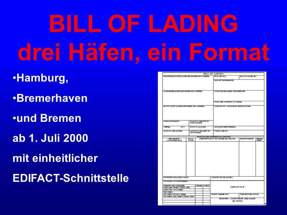 BILL OF LADING drei Häfen, ein Format