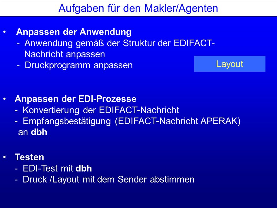 Aufgaben für den Makler/Agenten