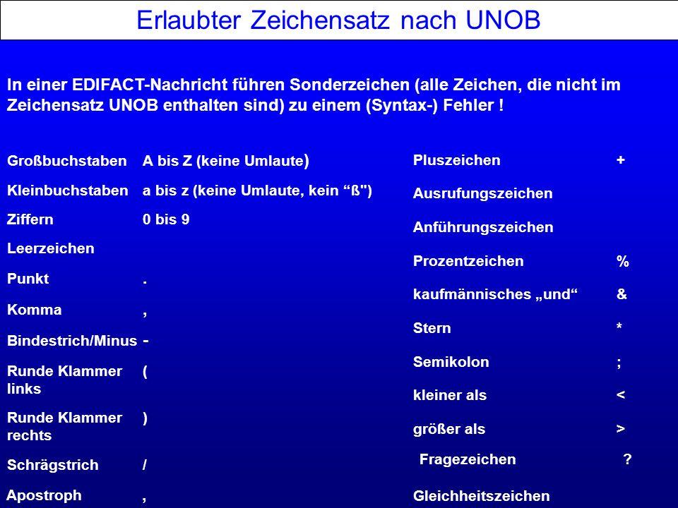 Erlaubter Zeichensatz nach UNOB