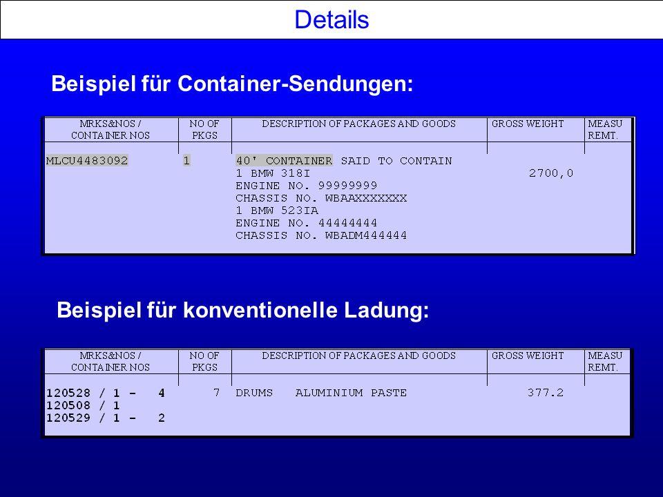 Details Beispiel für Container-Sendungen: