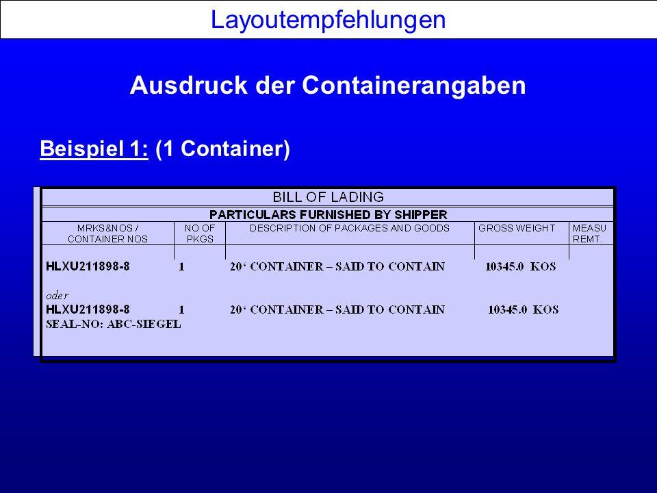 Ausdruck der Containerangaben