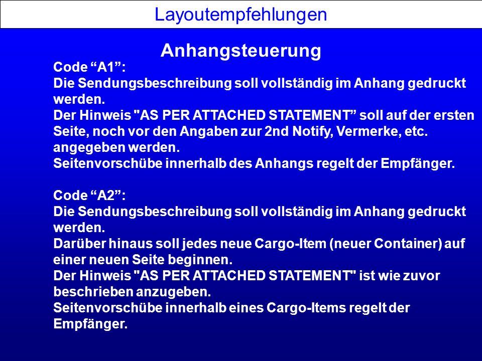 Layoutempfehlungen Anhangsteuerung Code A1 :
