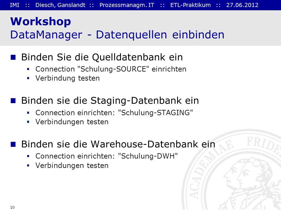 Workshop DataManager - Datenquellen einbinden