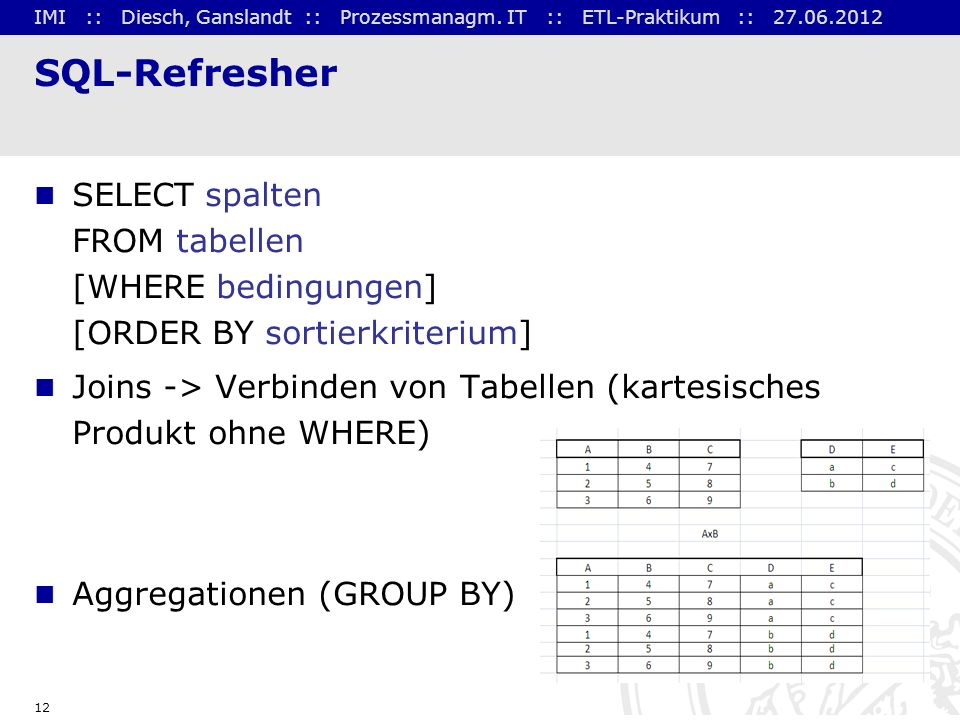 SQL-Refresher SELECT spalten FROM tabellen [WHERE bedingungen] [ORDER BY sortierkriterium]
