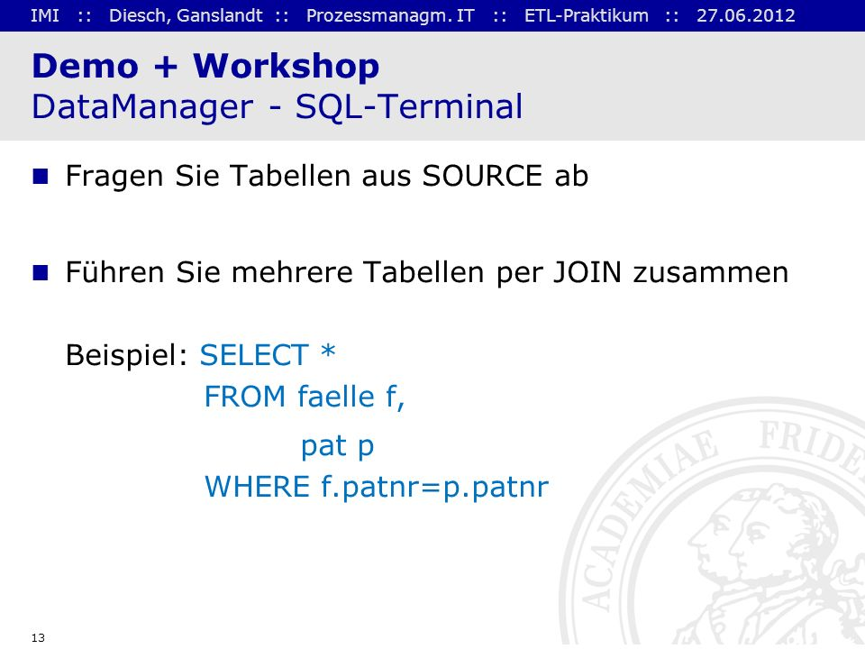 Demo + Workshop DataManager - SQL-Terminal