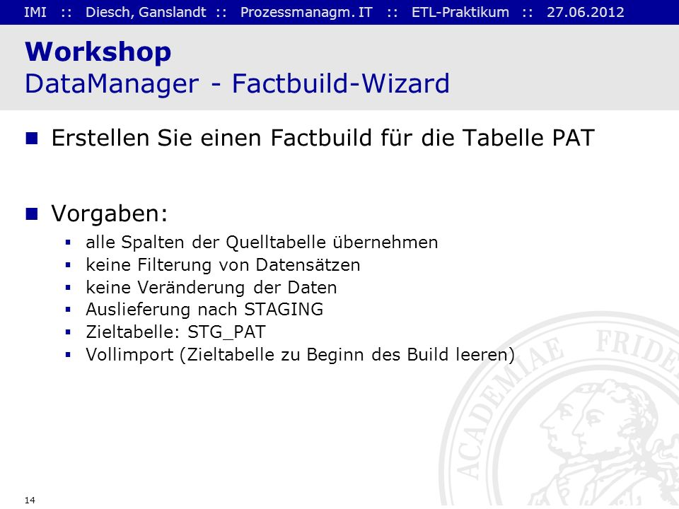 Workshop DataManager - Factbuild-Wizard