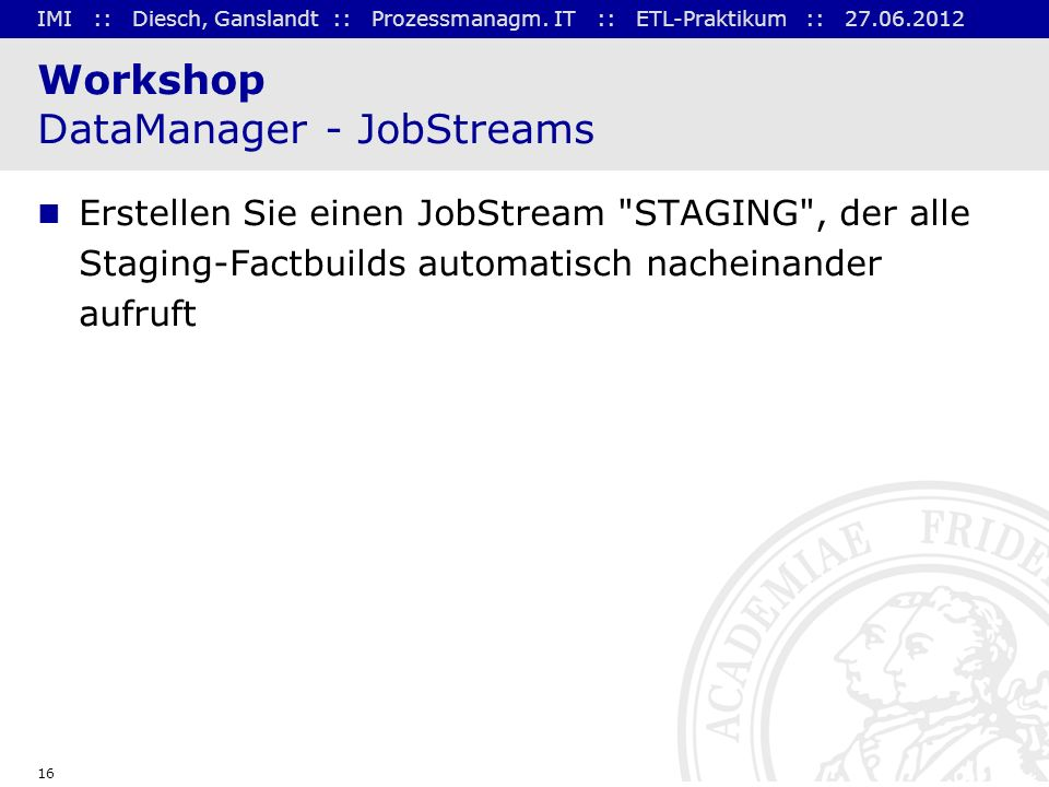 Workshop DataManager - JobStreams