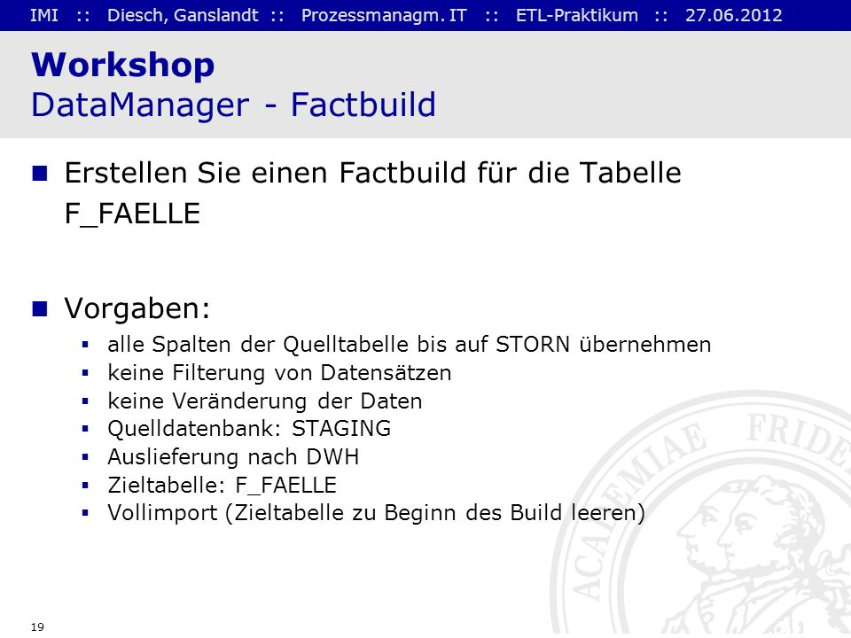 Workshop DataManager - Factbuild